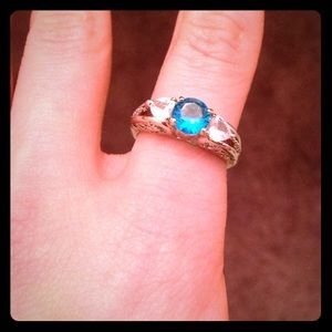 Gorgeous Silver Ring With Blue Gem
